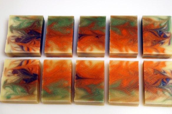 Taiwan Swirl blocks cut lengthwise.  Success with some colored swirls!